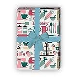 Kartenkaufrausch Hobby koch Geschenkpapier Set mit Koch Geräten für tolle Geschenk Verpackung, Designpapier, scrapbooking 32 x 48cm, Dekorpapier, Musterpapier zum Einpacken, auf beige