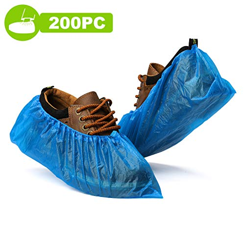 Fuxury Shoe Covers Disposable 200 Pack(100 Pairs) Disposable Shoe Boot Covers Waterproof Non Slip Shoes Protectors Covers Durable Boot&Shoes Covers,One Size Fits All,Blue