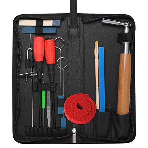 Piano Tuning Kit Professional Piano Tuner Kit by Wadoy, Professional 16 Piece Kit Including Tuning Fork, Tuning Wrench, Tuning Hammer, Mutes, Temperament Strip, for Piano Repair & Tuner Tools