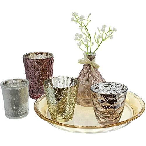 SIDCO Windlicht Deko Orient Kerzenhalter Teeelichthalter Tablett Vase Set 6 TLG