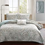 UKN 4 Piece Beautiful Blue Grey White Full Queen Coverlet Set, Paisley Themed Bedding Shabby Chic Contemporary Classic French Country Cottage Pretty Stylish Taupe Trendy, Cotton