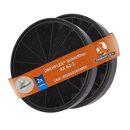 DREHFLEX AK62-2, 2 filtri a carbone attivo per cappa, Miele 6532971, Bosch/Neff Z5135X1, 00748733 e altri, ca. 193mm