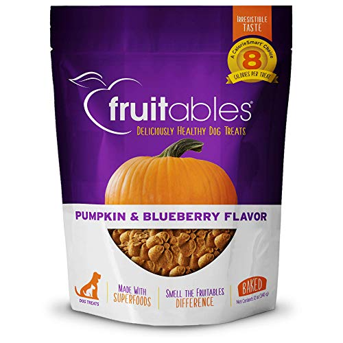 Fruitables Healthy Dog Treats Pumpkin & Blueberry  Made with Pumpkin for Dogs   Low Calorie Treats for Dogs   12 Ounces, White