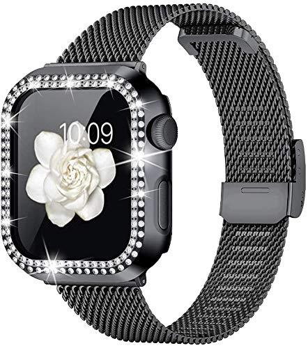 wlooo Correa & Glitter Diamante Funda Compatible con Apple Watch 44mm 42mm 40mm 38mm, Correa de Repuesto Ajustable de Malla de Metal Acero Inoxidable para iWatch Series 6 5 4 3 2 1 SE (Negro, 42mm)