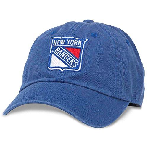 AMERICAN NEEDLE Blue Line NHL Team Dad Hat, New York Rangers, Royal (40742A-NYR)