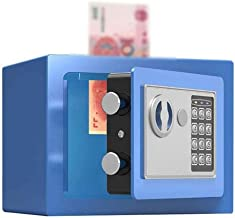 Security Lock Boxes Mini Safes Compact Safety Box Office Home Cash Money Jewelry Storage with - Blue - 22X17X17cm for Home...