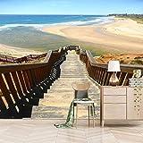 Msrahves Fotomural Vinilo de Pared Cielo azul mar escaleras pared dormitorio posters para pared papel pintado xxl fotomurales decorativos pared fotomurales pared 3d modernos Fotográfico