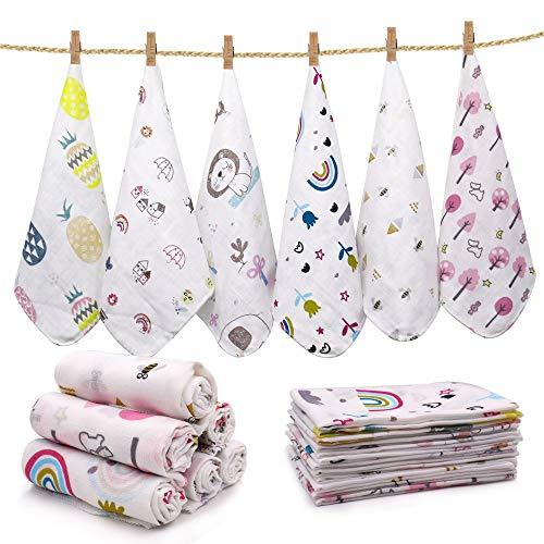 Baby Musselin Waschlappen, 12 Stück Baby Badetuch Musselin Waschlappen Baby Baumwolle Handtuch Weiche Handtuch für Neugeborenes Baby Kinder,30 * 30 CM (Style girl)