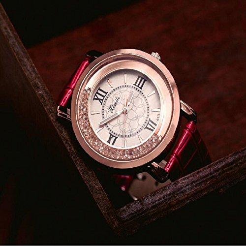Shuangklei Frauen Uhr Heißer Damenuhr Strass Student Watch Belt Quarzuhr, Rot