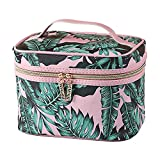 HOYOFO Large Makeup Bag for Women Green Leaf Print Cosmetic Bags With Makeup Brush Holder Travel Toiletry Storage Bag(Pink)