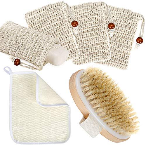 MojiDecor 4x Seifensäckchen Sisal, Badezubehör Set mit Badehandtuch und Badbürste - Natur und Sicherheit, Perfekt für zum aufschäumen und trocknen der Seife, Peeling, Massage