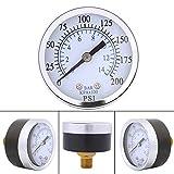 軽油または水0-200psi 0-14bar NPTのための1PC小型圧力計