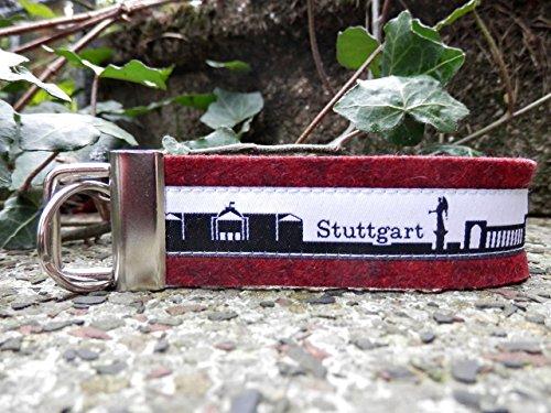 Schlüsselanhänger Schlüsselband rot schwarz Stuttgart Skyline schwarz weiß Geschenk!