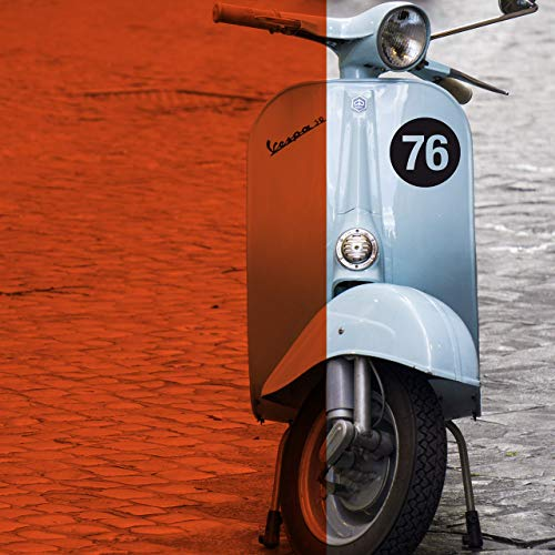 Runde Startnummer Zahl Aufkleber/Sticker für Vespa Lambretta Roller z.B. 76 Wunschzahl -größe
