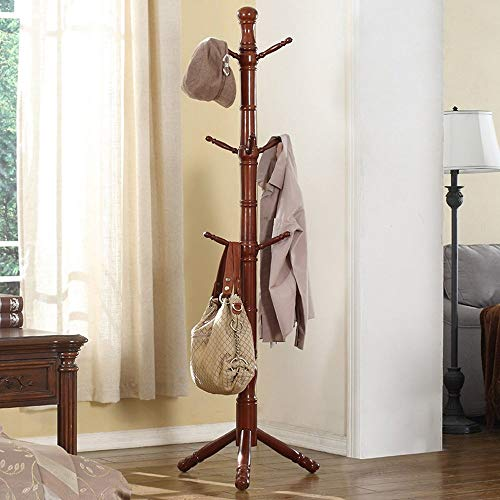 Kapstok, 70 mm, hoofdstang, 9 palen, hanger, voet, massief hout, kledinghanger voor slaapkamer, woonkamer, Europese kleding organisatie rek A ++ (kleur 2#)