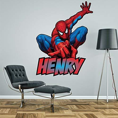 Pegatina de pared personalizada de Spiderman para dormitorio infantil, 4 tamaños (XL - 130 cm de alto)