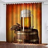 WDQFGE Cortinas Dormitorio Matrimonio Bebida de Cerveza de Trigo 280x215 cm Cortinas Opacas De Salón Diseño Líneas para Habitación con Ojales 2 Paneles