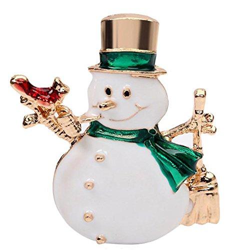 AprilElst Broche voor dames, met elegant kristal, verguld, carino, sneeuwpop, ontwerp van bruid, pin, sjaal, clip voor dames, sieraden, cadeaus, Xmas, party, decoratie