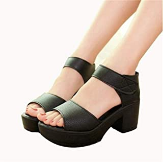 Summer Woman Sandal 7CM High-heeled Shoes Thick Heel Open Toe Platform Sandals Platform White