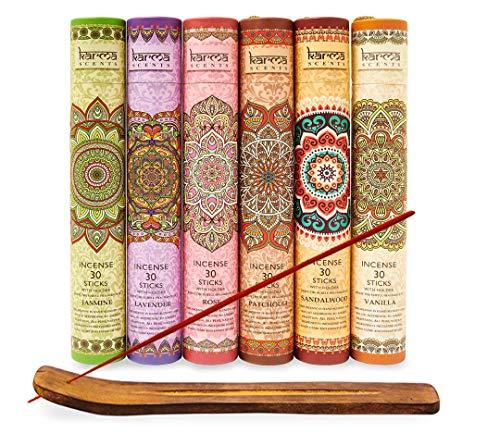 Karma Scents Premium Räucherstäbchen Lavendel, Sandelholz, Jasmin, Patchouli, Rose, Vanille, 180 Stäbchen, inklusive Halter in jeder Box Varianten-Set
