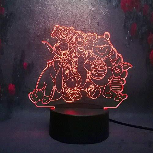 Cute Cartoon Winnie Pooh Eeyore Tigrou 3D Night Light Led 7 Couleur Télécommande Tactile Usb Garçons Chambre Lampe De Table