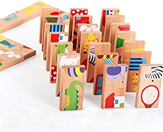 GracesDawn 28 Pcs of Educational Wooden Toy Domino Animal Puzzles Kids Game Gift