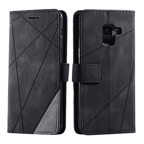 Hülle für Samsung Galaxy A8 2018, SONWO Premium Leder PU Handyhülle Flip Case Wallet Silikon Bumper Schutzhülle Klapphülle für Galaxy A8 2018, Schwarz