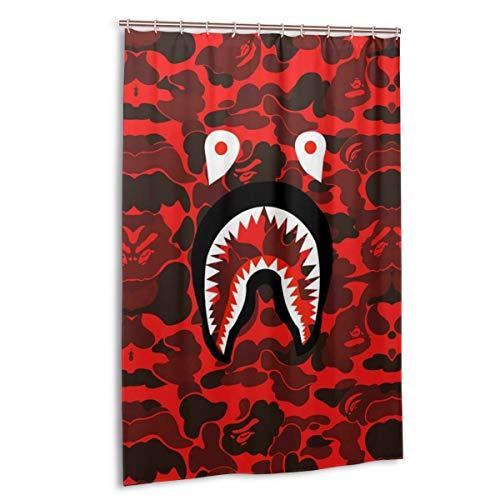NA-1 Ba-pe Red Camo Shark Face Waterproof Polyester Fabric Bathroom Curtains Set with Hooks Modern Bathroom Decor(48 x 72 inch)