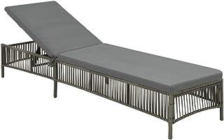 Tumbona gris con cojín gris, tumbona de exterior, mobiliario de jardín en resina trenzada, utilizada en el jardín, salón, tumbona regulable, tamaño: 197 x 56 x 32 cm