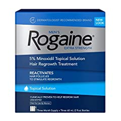 3-month supply of Men's Rogaine Extra Strength 5% Minoxidil Topical Solution to help treat hair loss, maintain hair density and allow for the regrowth of fuller hair Formulated with 5% Minoxidil, our fast-working, extra strength hair regrowth treatme...