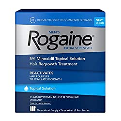 Men's Rogaine Extra Strength 5% Minoxidil Topical Solution for Hair Loss and Hair Regrowth, Topical