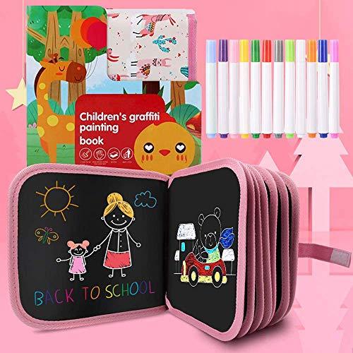 Felly Juegos de Pintura para Niños, Tabla de Dibujo Portátil Graffiti Libros Blandos de Pizarra Juguetes para Educación Preescolar Bebés Niña 2 -10 Años, Doodle Juego Infantil, 14 Páginas (Rosa)