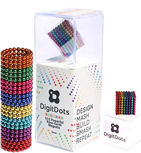Brainspark DigitDots 512 Multi Color 3mm Mini Magnetic Balls 8 Colors The Original Fidget Toys Rare Earth Magnets Desk Toys Desk Games Magnet Toys Stress Relief Toys Stocking Stuffers