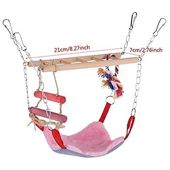 Oiseaux Swing Toy, 3 Couleurs Multi-Fonctionnel Animaux Escalade Balan?oire échelle Lit Accessoires Accessoires Suspendus Décor pour Petits Animaux Oiseaux(Rose)