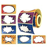 Cartoon/Comic Superhero Name Tag Labels, Colored Stickers 204 Per Roll Self-Adhesive by Toucan Craft Supplies