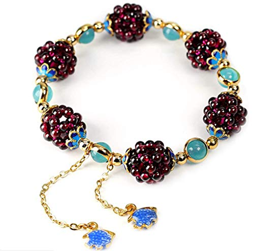 Pulsera de aleación Feng Shui Wealth Bracelet 7 pulgadas elástico Chakra Gemstone Cristal curativo Cuarzo Granate Aguamarina Estilo tibetano Mujeres Hombres Niñas Regalos de cumpleaños (unisex)