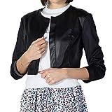 Silvian Heach PGP20688 Chanel - Cazadora de cuello con inserciones de piel sintética y tejido de malla negro...