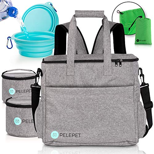 PELEPET Travel Bag for Dogs - Small, Medium & Large Dogs. 3 in 1 Styles:Weekender Backpack, Crossover, Handheld - Bonus: 2 Silicone Collapsible Food Bowls, 2 Food Containers, Waterproof Picnic Blanket