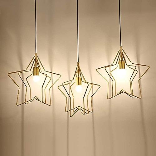 KJDFN Simple Creative Design Trois-tête Restaurant LED Lustre Restaurant Salon Lampe De Chevet Or Or à Cinq Branches étoile Lampes Décoratives Simple Et Durable