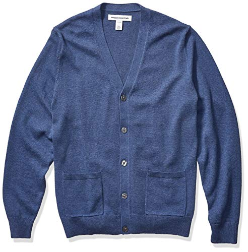 Amazon Essentials Men's Cotton Cardigan Sweater, Blue Heather, Large