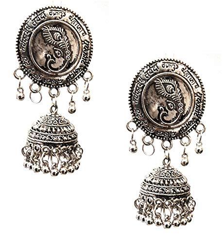 Pendientes indios de Bollywood étnico tradicional de plata oxidada, gitana afgana, tribal bohemio, jhumka, gota de templo