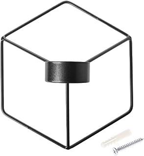 Schneespitze 2 Pezzi Portacandele Geometrico Tridimensionale,Decorazione da Appendere a Parete in Ferro,Portacandele Geometrico Tridimensionale,Candeliere di Ferro Sospeso a Muro per Decorazione