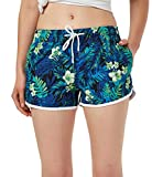 SHEKINI Damen Sommer Hawaii Farbige Badeshorts Kurze Blumen Hotpants Schnell Trocknend Wassersport...