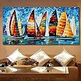 wZUN Decoración para el hogar Colorido velero Pintura al óleo Arte de la Pared Lienzo Cuadro acrílico Pintura al óleo Dormitorio 60x120 Sin Marco