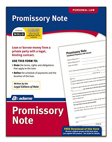 Adams Promissory Note, Forms and Instructions (LF293)