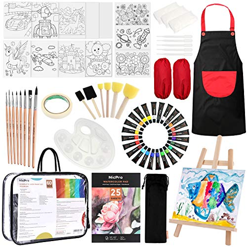 Nicpro Kid Art Set, Complete Washable Watercolor Painting Supplies Kit for Beginner with 24 Colors Water Color Paint, Canvas, Smock, Painting Pad, Sponge Brushes, Easel, Mixing Tray- Carrying Bags