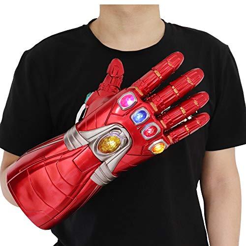 HEROMEN Avengers 4 Iron Man Guantes PVC Rojo Derecha,Accesorios De Halloween Cosplay Luminous Surrounding,Asshown-PVCChild