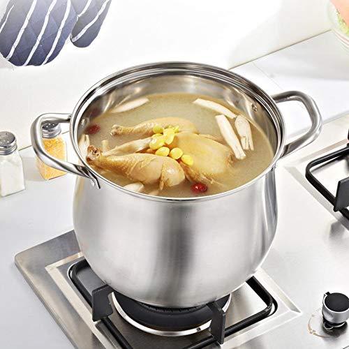Cazo de acero inoxidable con tapa de cristal y asas de alambre, olla para sopa, leche y pasta, para el hogar, dormitorio, cocina, leche, etc.