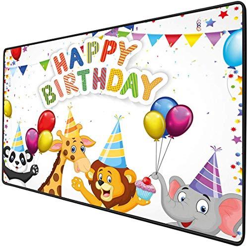 Mouse Pad Gaming Funktionale Geburtstag Dick Wasserdichte Desktop-Maus Matte Cartoon-Stil Safari Dschungeltiere auf einer Party mit Flaggen und Luftballons Bild, rot und weiß rutschfeste Gummibasis