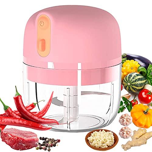 VOUM Mini picadora de ajo eléctrica, cortadora de Alimentos y picadora, licuadora de ajo portátil Mini picadora de Alimentos para ajo, Verduras, Frutas, Carne, cebollas (250 ml) (Pink)